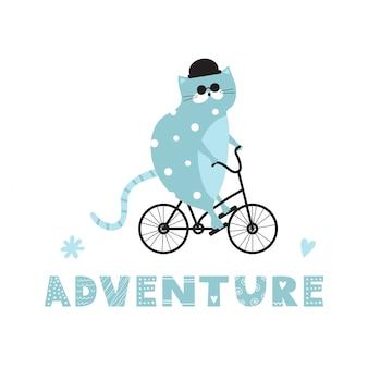 Chat bleu mignon dans un chapeau noir sur un vélo.
