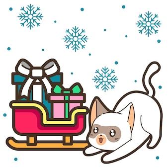 Chat et boîte-cadeau sur traîneau le jour de noël