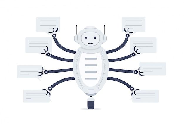 Chat bot avec des bulles de discours dans les mains. robot android sur fond blanc.