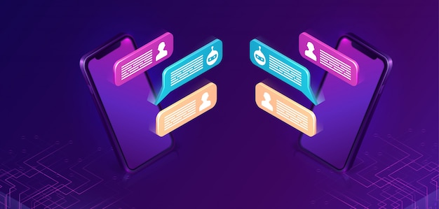 Chat bot ou chat mobile, concept isométrique