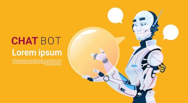 Chat bot, élément d'assistance virtuel de robot d'applications web ou mobiles, concept d'intelligence artificielle