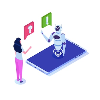 Chat bot, intelligence artificielle isométrique. concept de business ai et iot.