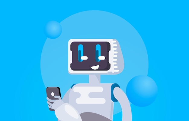 Chat bot libre fond d'écran. le robot tient le téléphone, répond aux messages.