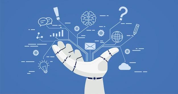 Chat bot, main de robot avec des icônes.