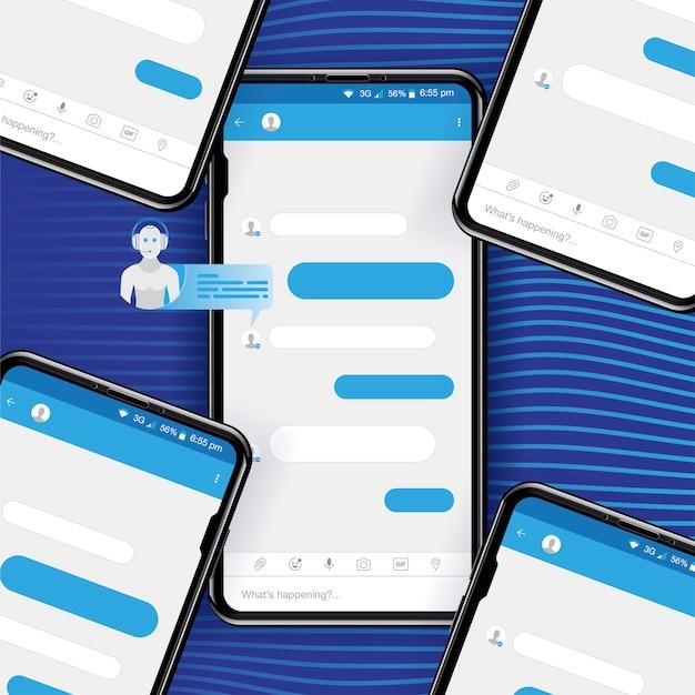 Chat bot pour les réseaux sociaux dans un smartphone réaliste.