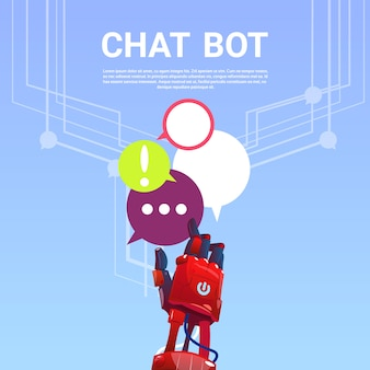Chat bot robot assistance virtuelle de site web ou d'applications mobiles, concept d'intelligence artificielle