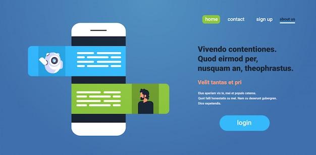 Chat bot robot communiquant avec la page de destination de l'application mobile d'homme d'affaires messenger