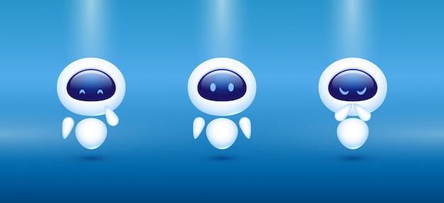Chat bot. robot avec différentes émotions. concept pour le service client.