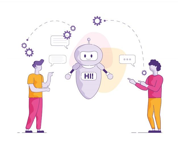 Chat bot say hi intelligence artificielle vectorielle.