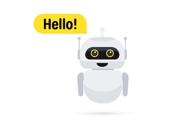 Chat bot sur smartphone. icône de messagerie instantanée. icône d'assistance ou de service. le robot du service d'assistance dit bonjour aux utilisateurs. le chatbot salue. consultation en ligne. service client, support, assistance, call center