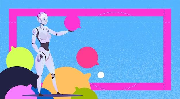 Chat bot utilisant des bulles robot assistance virtuelle du site web ou des applications mobiles concept de support de messager d'intelligence artificielle