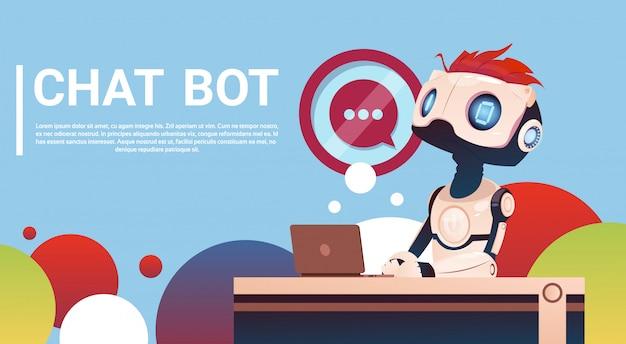 Chat bot utilisant un ordinateur portable, assistance virtuelle robotique d'un site web ou d'applications mobiles, artifici
