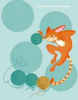 Chat et boule à tricoter