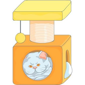 Chat britannique mignon de vecteur dans la maison de chat avec des poteaux de grattage