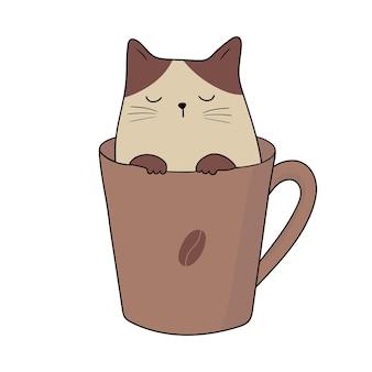 Chat de café adorable chaton dans une tasse à café doodle cartoon style vector illustration
