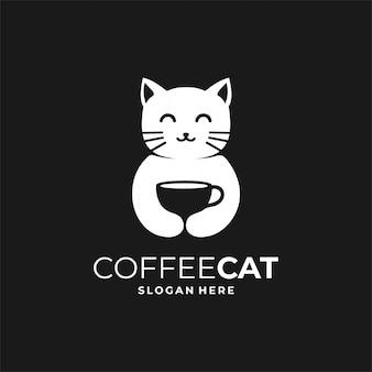 Chat de café, modèle de conception de logo pictural