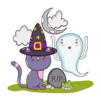 Chat avec chapeau et fantôme drôle avec déchirure