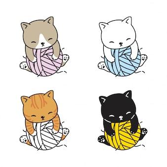 Chat chaton bande dessinée boule de fil