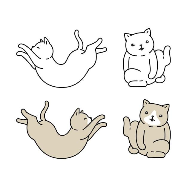 Chat chaton calicot caractère dessin animé doodle race