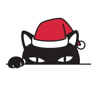Chat chaton chapeau de noël père noël