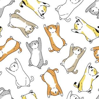 Chat chaton modèle sans couture animal de compagnie dessin animé