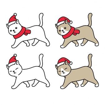 Chat chaton noël chapeau de père noël marchant personnage de dessin animé