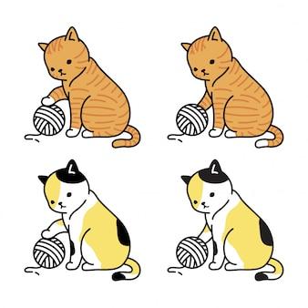 Chat chaton personnage fil boule dessin animé