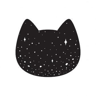 Chat chaton tête icône dessin animé