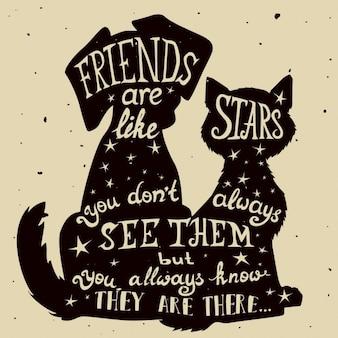 Chat et chien amis de carte grungy