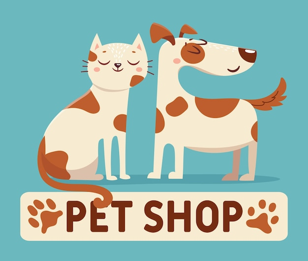 Chat et chien. animalerie de dessin animé ou signe de logo de magasin vétérinaire avec des animaux heureux. amis chaton et chiot ensemble. conception de vecteur d'étiquette vétérinaire. animaux domestiques tachetés pour le logotype du magasin