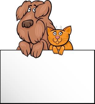Chat et chien avec carte de dessin animé
