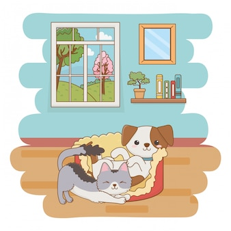Chat et chien cartoon clip-art illustration