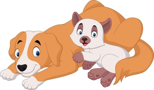 Chat et chien de dessin animé relaxant