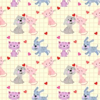Chat et chien mignons pour l'amitié des animaux domestiques ou la conception de papier peint