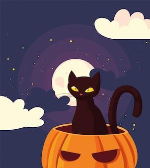 Chat citrouille joyeuse fête d'halloween