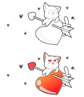 Chat et coeur sont tirés avec une flèche de coloriage de dessin animé d'amour