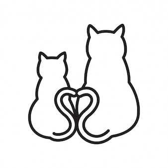 Chat coeur vectoriel dessin animé coeur
