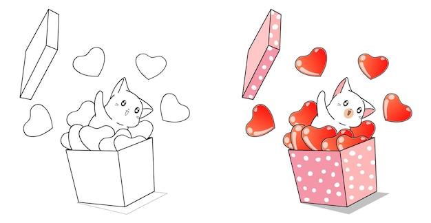 Chat et coeurs dans la boîte pour la page de coloriage de dessin animé de saint valentin pour les enfants
