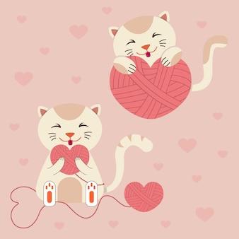 Chat avec des coeurs