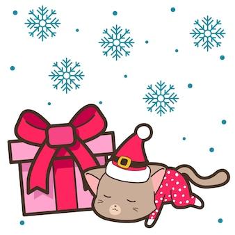 Chat et coffret cadeau le jour de noël