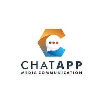 Chat communication logo design message icône vecteur