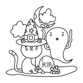 Chat contour avec chapeau et fantôme drôle avec déchirure