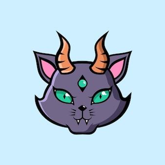 Chat à cornes de diable avec un troisième oeil