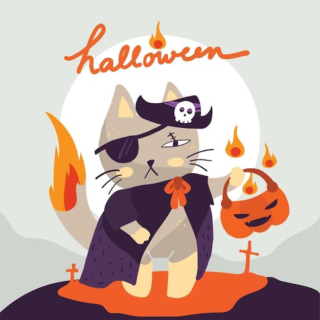 Chat en costume de pirate tendant un panier de citrouilles le jour de l'halloween