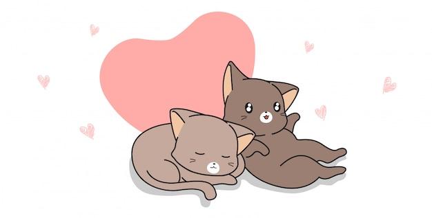 Chat couple bannière avec coeur