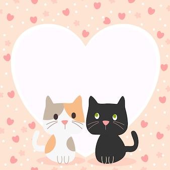 Chat de couple mignon en arrière-plan du thème valentine.