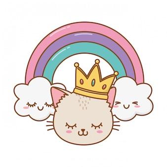 Chat avec couronne et arc-en-ciel