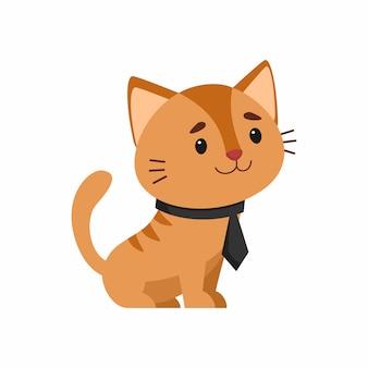Chat en cravate élégante