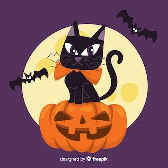 Chat d'halloween élégant avec un design plat