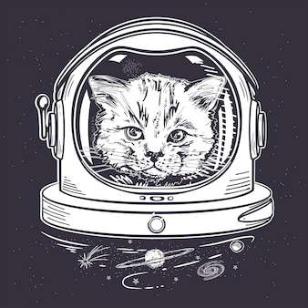 Chat dans un casque spatial. astronaute. portrait d'un chat.